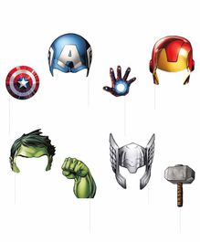 Fiddlerz Avengers Themed Photobooth Props  Multicolor - Pack of 8