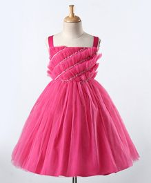 A Little Fable Solid Fit & Flare Sleeveless Layered Dress - Pink