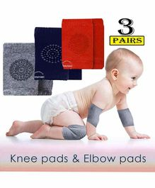 Babymoon Knee & Elbow Caps Pack of 3 Pairs - Multicolour