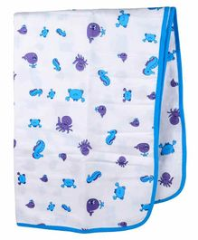 Wonder Wee 100% Cotton Muslin Blanket Animal Print - Blue