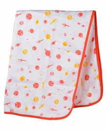 Wonder Wee 100% Cotton Muslin Swaddle Wrapper Space Print - Orange