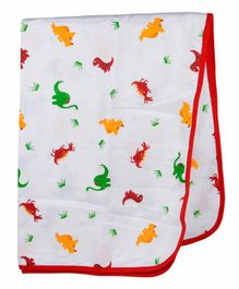 Wonder Wee 100% Cotton Muslin Swaddle Wrapper Dino Print - Red