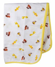 Wonder Wee Soft and Smooth Cotton Printed Blanket - Yellow & White