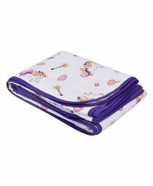 Wonder Wee Soft and Smooth Cotton Printed Blanket - Purple & White
