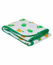 Wonder Wee Soft and Smooth Cotton Printed Blanket - Green & White