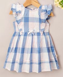 Budding Bees Checkered Sleeveless Dress - Blue