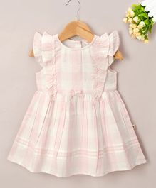 Budding Bees Checkered Sleeveless Dress - Pink