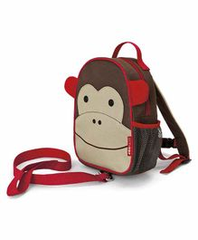 Skip Hop Mini Backpack With Safety Harness Monkey Design - 9 Inches