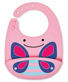 Skip Hop Silicon Bib With Crumb Catcher - Pink