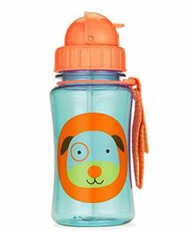 Skip Hop Water Bottle With Pop Up Straw Blue & Orange - 350 ml