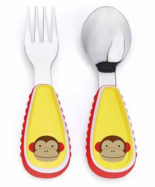 Skip Hop Stainless Steel Fork & Spoon Set Monkey Print - Yellow