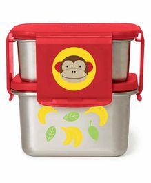 Skip Hop Stainless Steel Lunch Box Monkey Print - Red