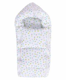 Mom's Home Cushioned Cotton Sleeping Bag Heart Print  - White