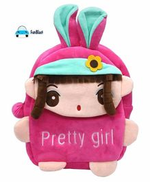 FunBlast Plush School Bag Doll Design Pink - Height 11.02 Inches