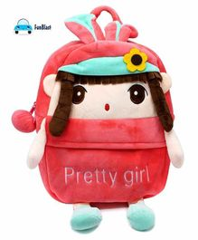 FunBlast Plush School Bag Doll Design Peach - Height 11.02 Inches