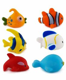 FunBlast Fish Shape Squeaky Bath Toys Pack of 6 - Multicolor