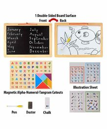 FunBlast Magnetic 2 in 1 White & Black Board with Tangram Puzzle - Multicolour