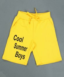 RAINE AND JAINE Cool Summer Boys Printed Shorts - Yellow