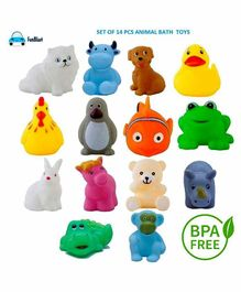 FunBlast Animal Shaped Bath Toys Pack of 14 - Multicolor