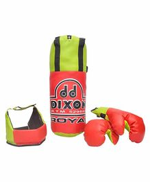 Toyshine Dixon Kids Royal Polyester Boxing Kit with Gloves and Head Guard - Green & Red