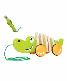 Emob Wooden Crocodile Pull Along Toy with Whistle (Color May Vary)