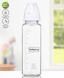 Babyhug Standard Neck Glass Feeding Bottle White - 250 ml