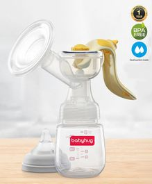 Babyhug Manual Breast Pump with Adjustable Suction & Massage Mode - Yellow