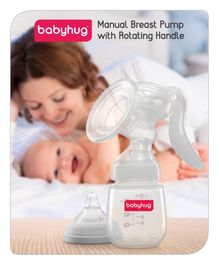 Babyhug Manual Breast Pump with Rotating Handle - White