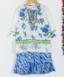 Little Bansi Flower Print Full Sleeves Kurta With Sharara & Dupatta - White & Blue