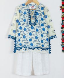 Little Bansi Rose Flower Print Full Sleeves Kurta With Sharara & Dupatta - Cream & Blue