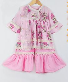 Little Bansi Angrakha Style Full Sleeves Flower Print Kurta With Sharara & Dupatta - Pink
