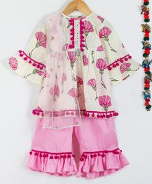 Little Bansi Flower Print Full Sleeves Kurta With Panthara Style Pants & Dupatta - Cream & Pink
