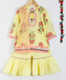 Little Bansi Flower Print Full Sleeves Pom Pm Kurta With Dupatta & Sharara - Yellow