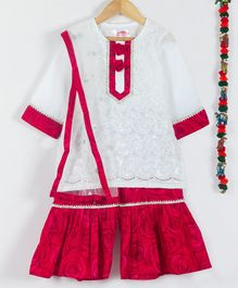 Little Bansi Full Sleeves Sequin Work Kurta With Dupatta & Rose Flower Print Sharara - White & Red
