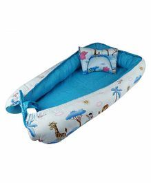 Litte Hug Reversible Printed Baby Nest Bedding Set - Blue