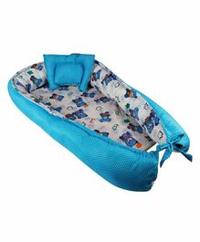 Litte Hug Reversible Baby Nest Bedding Set Bear Print - Blue