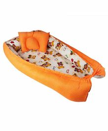 Litte Hug Reversible Baby Nest Bedding Set Bear Print - Orange