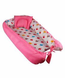 Litte Hug Reversible Baby Nest Bedding Set Polka Dot & Apple Print - Pink