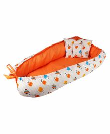 Litte Hug Reversible Baby Nest Bedding Set Polka Dot & Apple Print - Orange