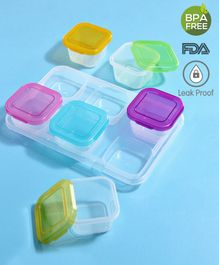 Babyhug Food Storage Containers Set of 6 - Multicolour