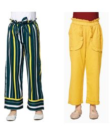 Cutiekins Pack Of Two Full Length Solid & Striped Palazzo Pants - Yellow & Green