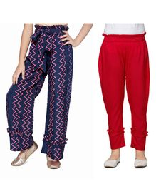 Cutiekins Pack Of Two Full Length Solid & Chevron Printed Palazzo Pants - Navy Blue & Red