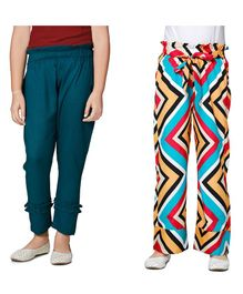 Cutiekins Pack Of Two Solid & Zig Zag Printed Full Length  Palazzo - Blue & Multi Colour