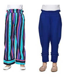 Cutiekins Pack Of Two Solid & Striped Full Length Palazzo - Blue & Multi Colour