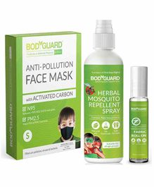 Bodyguard N95 + PM2.5 Anti Pollution Face Mask, Mosquito Repellant Spray & Roll On Pack of 3 - 100 ml, 10 ml
