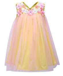 A Little Fable Flower Embellished Sleeveless Dress - Yellow
