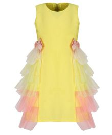A Little Fable Shaded Sleeveless Side Ruffle Bow Knot Dress - Yellow