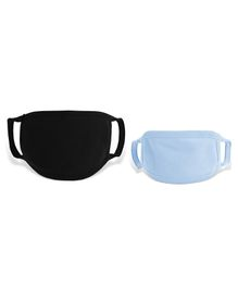 Zoe 100% Cotton Masks for Kids and Parents Pack of 2 - Black Blue