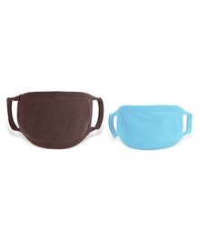 Zoe 100% Cotton Masks for Kids & Parents Pack of 2 - Brown Blue