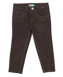 Kid Studio Solid Full Length Slim Fit Corduroy Pants - Dark Brown